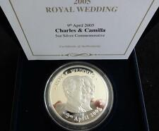 2005 5OZ 999 FINE SILVER PROOF BRITANNIA MEDAL BOX & COA CHARLES & CAMILLA WED