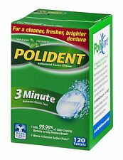Polident Tablets 3 MIN Removes stains controls odor 120 tablets