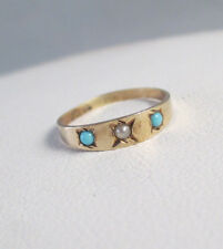 ANTIQUE Vintage Victorian 10K YELLOW GOLD SEED PEARL TURQUOISE BABY CHILD'S RING