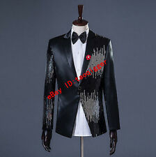 Wedding Mens Sequins Blazer Sequin Tuxedo Suit Slim fit Psy Jacket Coat Clothing