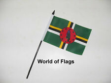 "DOMINICA SMALL HAND WAVING FLAG 6"" x 4"" Caribbean Dominican Table Desk Display"