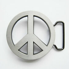 BRAND NEW LOVE PEACE 60'S SIGN SILVER BELT BUCKLE