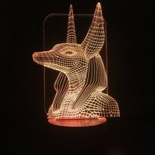 USB Color Changing Lamp Egypt Anubis 3D Illusion LED Night Light Xmas Toy Gift