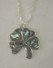 Necklace/Pendant Four 4 Leaf Clover Abalone Shell alpaca new w/ chain