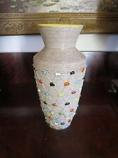 "Elbee Italy Art Pottery Vase 12"" Applied Diamond Dot Numbered & Signed"