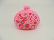 CUTE LADIES GIRLS PINK RETRO SWIRL PATTERN LARGE SILICONE COIN KEY PURSE WALLET