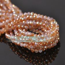Half Color Rondelle Faceted Czech Glass Loose Spacer Beads 3mm 4mm 6mm 8mm