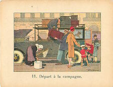VOITURE VACANCES CAMPAGNE  RAFFIN 1920 CHROMO CARD GRANDE IMAGE ECOLE BON POINT