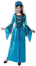 LADIES MEDIEVAL TUDOR LADY ROYAL PRINCESS LONG BLUE FANCY DRESS COSTUME OUTFIT