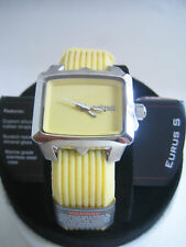 ANIMAL WATCH WOMENS EURUS STAINLESS STEEL PALE BANANA SILICONE WWSV19-359 BNIB