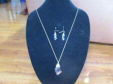 """NEW Chico's 34"""" Silver Tone with blue crystals Necklace and & Earrings Set"""