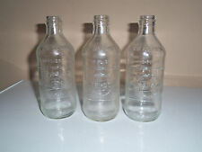 3 VINTAGE SODA PEPSI COLA 10 oz BOTTLE CLEAR GLASS 1970 W/PEPSI EMBOSS PEBBLED