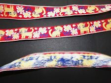 Vintage Jacquard Embroidered Ribbon Trim Kittens FLOWERS HUNGARY 61 inches X 1""