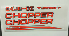 "Raleigh ""CHOPPER MK2"" decal set in Dayglo Red/ Black Outline"