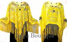 Stunning Silk Velvet Poncho / Shawl Top Cape Lemon