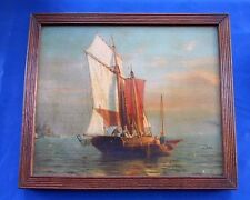 Victorian Oleograph Oil Painting of Old Fashioned Sailing Boat