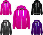 NEW UNISEX KIDS GIRLS BOYS PLAIN FLEECE ZIP UP HOODIE HOODY TOP AGES 7- 13 YEARS