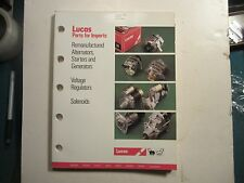 1990 Lucas alternators starters generators voltage regulators solenoids catalog