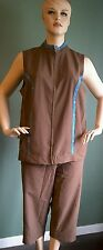 2-PIECE CATHERINES JACKET AND CAPRI ACTIVE SET - BROWN - PLUS SIZE 2X (22/24)