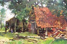 Karl stachelscheid 1907-1970 Düsseldorf/dipinto rurale IDYLLE con polli