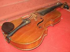 Vintage Violin w/ Coffin Case & Bow. Antique Fiddle. 4/4 Full Size. Strad Copy.