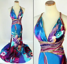 Jovani 100% Silk $500 Halter Open Back Evening Formal Long Gown Size 2 Prom