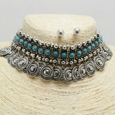 "14"" silver turquoise choker collar bib charm necklace .30"" earrings"
