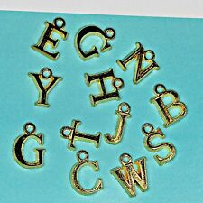 50 x Gold Plated ALPHABET LETTER Charms Pendants Beads / Jewellery Craft