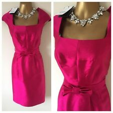 Bnwt Hobbs London Dress Size 10 Cerise Silk Wool Evening Occasion Party Rrp£159
