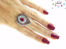 Turkish Ottoman 925 Sterling Silver Jewelry Victorian Ruby Ring Size 9.5 B9