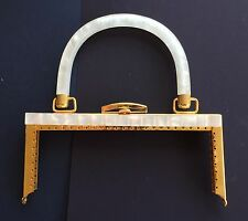Vintage Bag Handle - Square Handbag Frame, Off-white Marble and gold clasp