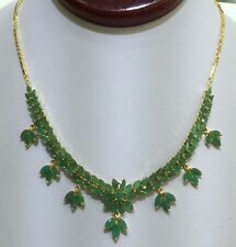 14k Solid Yellow Gold Dangle Pendant Necklace 17.81CT Natural Emerald 18 Inches