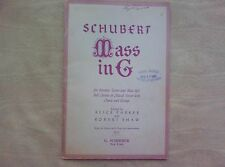 Vintage Schubert Mass in G minor,Vocal Accompaniments Organs and Strings