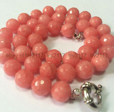 Fashion Natural 10mm Faceted pink Rhodochrosite necklace 18""