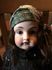 Antique German Bisque Head And Leather Body Doll 23""