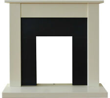 ELECTRIC CREAM IVORY BLACK WOOD SURROUND FREESTANDING WALL FIRE FIREPLACE SUITE