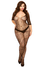 Full Figure Plus Size Sexy Black Swirl Floral Lace Open Crotch Bodystocking