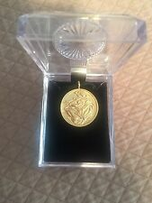 """Linda Le Kinff """"Woman"""" Signed Gold Plated Medallion Necklace"""