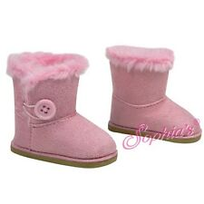 "SUEDE BOOTS SHOES W/ Button EWE fits 18"" American Girl Dolls PINK"