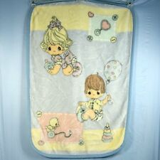 Precious Moments Playtime Baby Boy Girl Plush Blanket Thick Furry Duck Pastel
