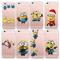 Apple iPhone 6s 6 Minion Case Silicone Bumper Clear Gel Cover + Screen Protector