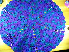 "A 20"" Crochet Knit Doily with Bows  - Purple, Cranberry, Hunter Green - FreeShip"