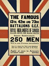 PROPAGANDA WAR WWI CANADA HIGHLANDERS ROYAL ENLIST ART POSTER PRINT LV7174