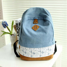 Women Girls Vintage Lace Denim Backpack Rucksack Travel Sport Shoulder Schoolbag