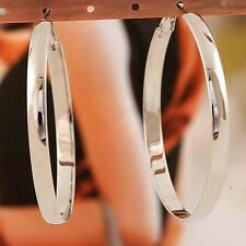 14K White Gold Filled Smooth large hoop earrings Womens vintage Earrings