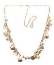 Glam Dazzle magnífico oro lentejuelas collar cadena de metal ajustable (Zx184)