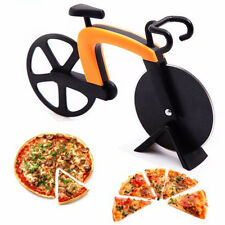 G.A Kitchen Gadget Pizza Cutter Slicer Bike Shape Stainless Steel Wheel Blade *R