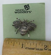 VINTAGE SILVER TONE & MARCASITE STONE NATURAL WONDERS BUBBLE BEE PIN BROOCH