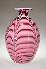 """1975 Robert Barber Collection HYACINTH FEATHER # 0001 12.5"""" Vase 413/450 Fenton"""