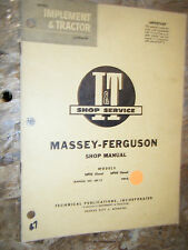UPTO 1960 MASSEY FERGUSON MODEL MF85 88 DIESEL TRACTOR I & T SHOP MANUAL SERVICE